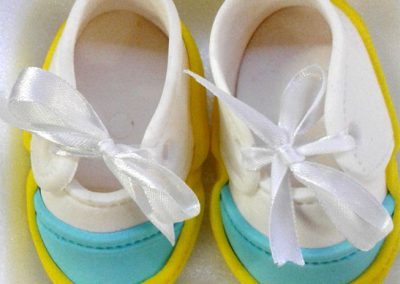 Fondant Baby Shoes Blue Yellow and White