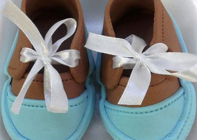 Fondant Baby Shoes Blue and Brown