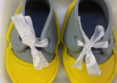 Fondant Baby Shoes Grey and Yellow