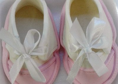 Fondant Baby Shoes Pink and White