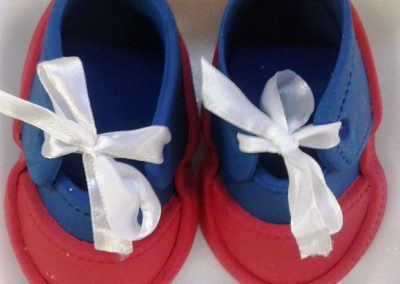 Fondant Baby Shoes Red and Navy