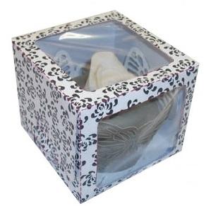 Black Rose Single Window Cupcake Box 80x80x70mm Pack of 6