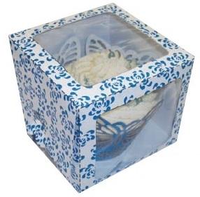 Blue Rose Single Window Cupcake Box 80x80x70mm Pack of 6