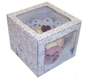 Lilac Rose Single Window Cupcake Box 80x80x70mmn Pack of 6