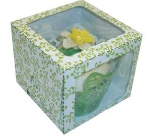 Lime Rose Single Window Cupcake Box 80x80x70mm Pack of 6