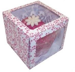 Pink Rose Single Window Cupcake Box 80x80x70mm Pack of 6