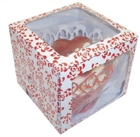 Red Rose Single Window Cupcake Box 80x80x70mm Pack of 6