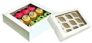 White Cupcake Boxes with Inners 12's Pack of 6