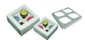 White Cupcake Boxes with Inners 4's Pack of 6