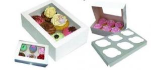 White Cupcake Boxes with Inners 6's Pack of 6
